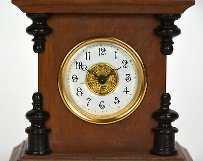 Miniature German Style Carved 3 Finial Bracket Clock with Porcelain Dial 6