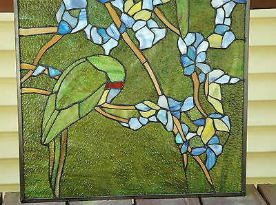 "20"" x 34"" Tiffany Style stained glass window panel 2 parrots birds 7"