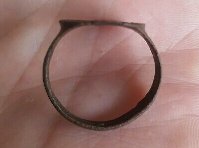 Ancient Authentic Late Roman Empire Legionary Bronze Wearable Ring Size US 11.75 4