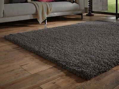 Small - Extra Large Dark Charcoal Grey Thick Pile Plain Modern Soft Shaggy Rug 3