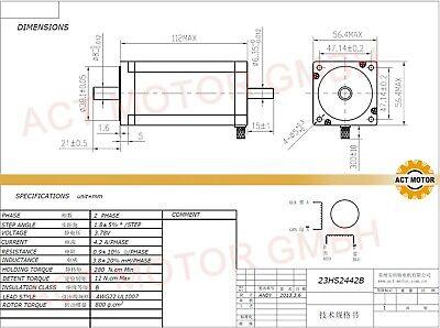 DE Free 1PC Nema23 Schrittmotor 23HS2442 4.2A 112mm Φ8mm 425oz-in Bipolar 3Nm