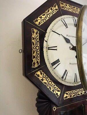 Whitmore Northampton Regency Superb Brass Inlaid Convex Dial Wall Clock 5