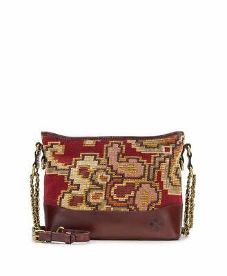 NWT Patricia Nash Crossbody Bag Shoulder Handbag Tapestry Leather burgundy brown 7