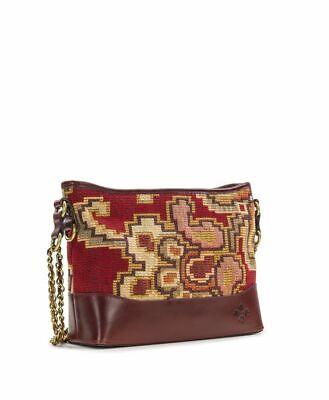 NWT Patricia Nash Crossbody Bag Shoulder Handbag Tapestry Leather burgundy brown 4