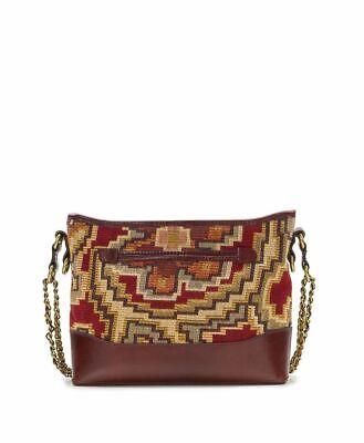 NWT Patricia Nash Crossbody Bag Shoulder Handbag Tapestry Leather burgundy brown 5