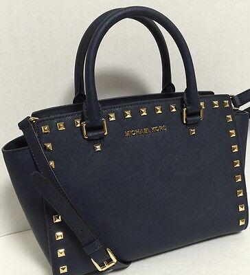 a2d7fce7a982 ... NEW Michael Kors MD Selma Gold Stud Navy Saffiano Leather Satchel  Handbag $328 11