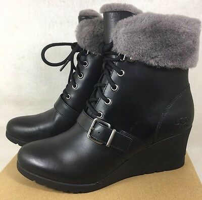 9a6e8440880 UGG AUSTRALIA JANNEY Black LEATHER SHEARLING WEDGE ANKLE BOOTS WOMENS  1012527