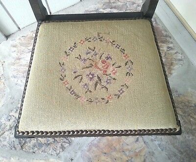 Antique Harp Chair Walnut with Needle point 4