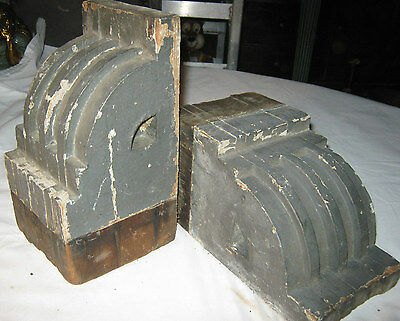 2 Antique Architectural Salvage Wood Block Corbel Industrial Art Statue Bookends 6
