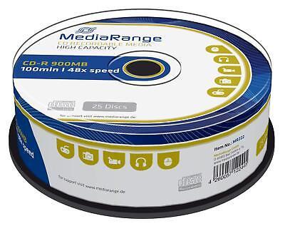 25 MediaRange Branded Blank CD-R discs 48x 100 min CD R 900MB 100 minutes MR222 3