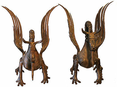 Rare Antique English Wrought Iron Pair Of Dragons Must See. 2