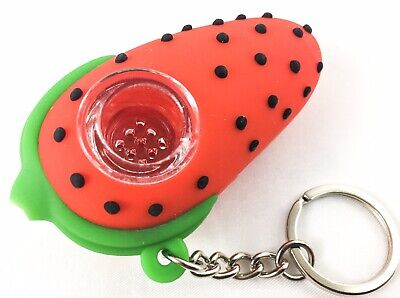 "NEW 3"" Strawberry Silicone Tobacco Herb Smoking Hand Pipe Glass Bowl & Keychain 4"