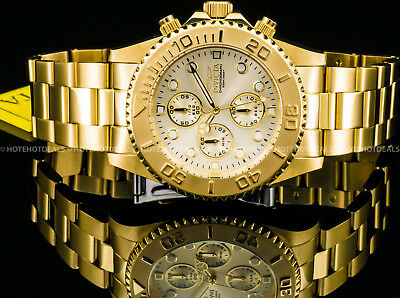 Invicta Mens Pro Diver Chronograph Champagne Dial 18K Gold Plated SS 200MT Watch 3
