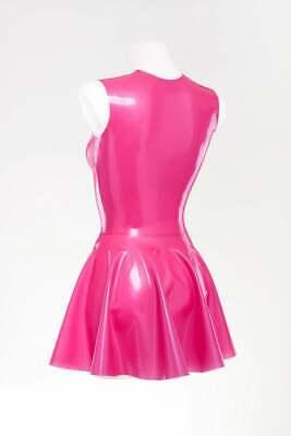 Latex Catsuit Rubber Gummi Pink Sexy Mini Skrit Dresses Jumpsuit Customized .4mm 2