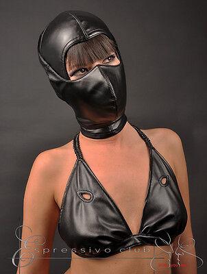 Ledermaske Vegan mit Mundschutzmaske bdsm Leder Hood Kopfmaske Gimp mask bondage 3