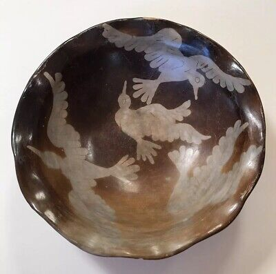 Peru Chulucanas Pottery Bird Bowl Signed S Moncada Precolumbian Technique Vtg 4