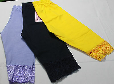 Girls 3/4 Length Cropped Leggings with Lace Hem 1 2 3 4 5 6 7 8 9 10 12 14 Years 2