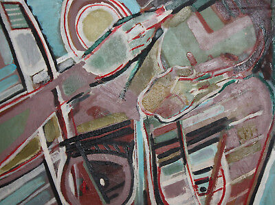 Vintage expressionist cubist large oil painting signed 7