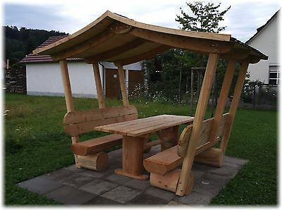 pavillon gartenm be mit dach sitzgruppe aus holz. Black Bedroom Furniture Sets. Home Design Ideas