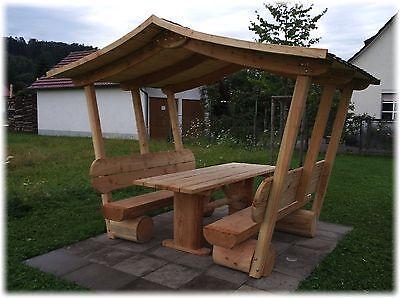 pavillon gartenm be mit dach sitzgruppe aus holz sitzm bel gartenbank eur. Black Bedroom Furniture Sets. Home Design Ideas