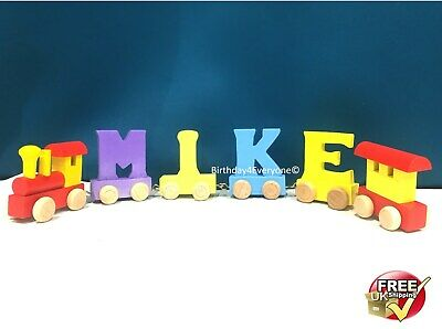 Personalized Letter Name wooden Train Birthday New Year Christmas Gift Toy 9