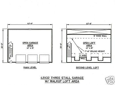1 Of 2FREE Shipping 42x32 3 Car Garage Building Blueprint Plans With Walk  Up Open Loft Area