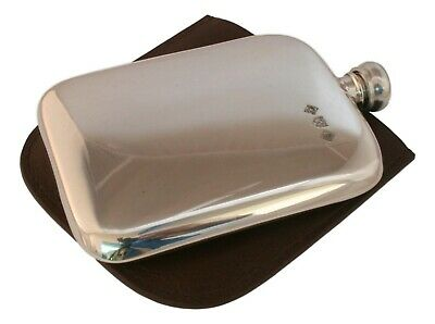 Boar Running Pewter 4oz Kidney Hip Flask Leather Pouch FREE ENGRAVING 35 3