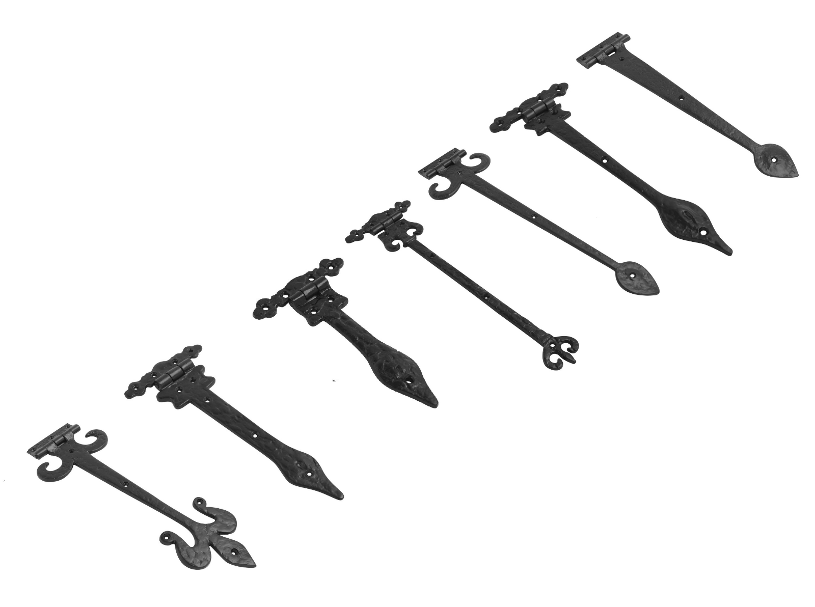 Black Antique Old English Country Door Gate Tee T Hinges Spear Hinges Cast Iron 2