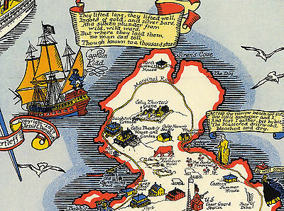 1927 Pictorial Map the Isles of Shoals known as Smiths Iles Wall Art Poster