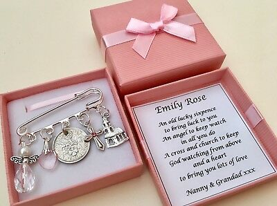 LUCKY SIXPENCE CHRISTENING GIFT,BAPTISM GIRL/BOY Pin Charm PERSONALISED GIFT BOX 2