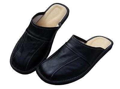 Cuir pour Hommes Chaussures Pantoufles, Sandales, Mules à Enfiler, Noir - Taille 2