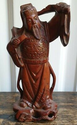 Antique Carved Wood Chinese Figurine. Old man carrying. W/damage. 2