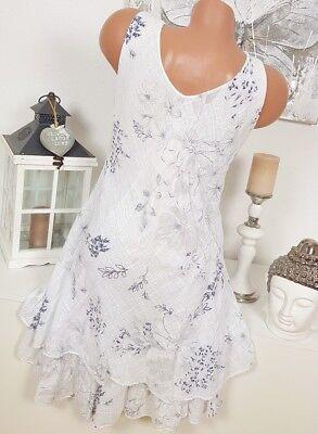 Kleid Minikleid Gr 40 42 hellblau Stretchkleid Blumen Stickerei Volant