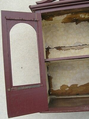 18/19 Century Delicate Early American Primitive Hanging Cupboard Red Paint 3