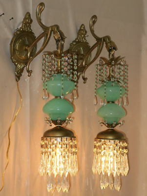 PR Vintage Sconce lamp Murano Jade Opaline Glass Bronze Brass crystal with beads 2