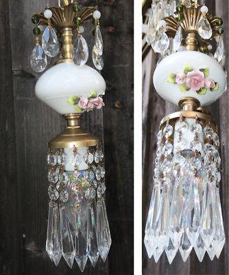 Vintage Capodimonte PInk ROSE porcelain Brass swag lamp chandelier French Apartm 8