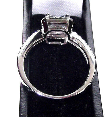 Rhodium Plated Solid 925 Hallmarked Sterling Silver Princess Cut Halo Ring 6