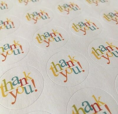 "ENVELOPE SEALS LABELS STICKERS 1"" Round 63 Thank You In Colors !!"