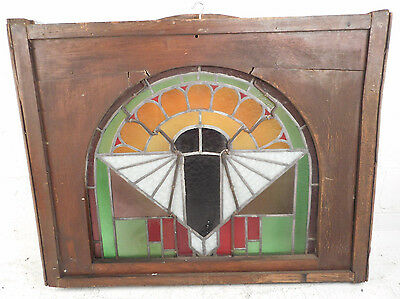 Unique Vintage Arched Stained Glass Window Panel (2828)NJ 3