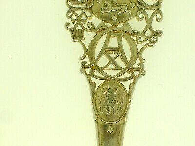 """Rare Denmark A. Michelsen Commemorative Spoon May 15, 1912 - 6"""" Long -48.3 Grams 4"""