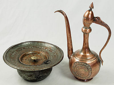 Antique islamic Engraved copper Ewer Pitcher Basin set from Afghanistan No:16/G 2