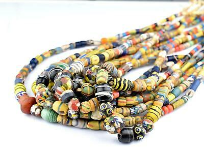 Premium Glass Mixed Trade Beads 14mm Ghana African Multicolor Large Hole 4