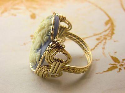 Grecian Goddess Grapes Large Cameo 14k Gold Filled Ring Black