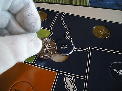 COMPLETE Set Of State Quarter Holder Album Map Also Spots - Complete 50 state quarter set