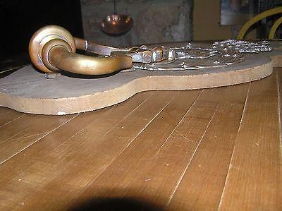"Antique Brass Door Knocker Ornate 18""long X 8 7/8"" Wide Beautiful Patina 11"