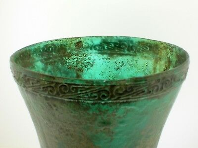 Han Dynasty Very Large Unusual Glass Wine Cup With Fine Decoration - Very Rare!! 5