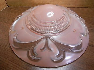 "11-1/4"" VINTAGE 3-CHAIN CHANDELIER SHADE PINKISH PEACH w/ CLEAR RAISED DECOR 10"