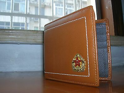 07's series China PLA Army Badge Officer Genuine Leather Wallet,AA 10