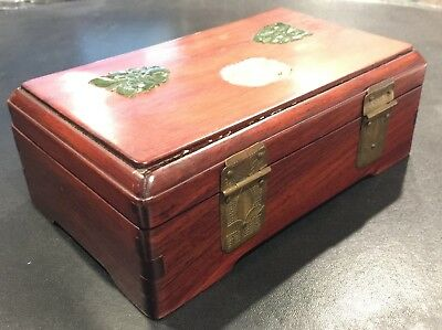 Chinese Rosewood Box with Jade Pieces on Top 3