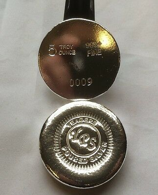 5oz BUTTON Hand Poured Round by Yeagers Poured Silver YPS 999+ Bullion Bar 2